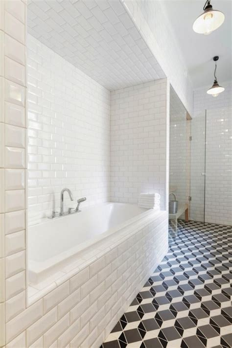 White Subway Tile Bathroom by Beveled Subway Tile Design Ideas