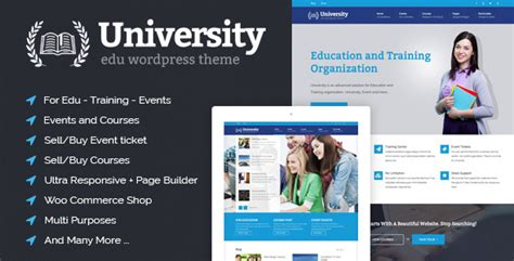 wordpress themes free university university education event and course theme by