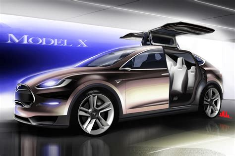 Teslas Model X Tesla Model X Unveiled Electric Luxury Crossover With Wings