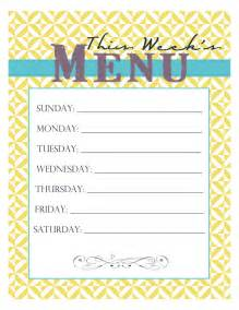 dinner menu template for home free printable menu smitten designs
