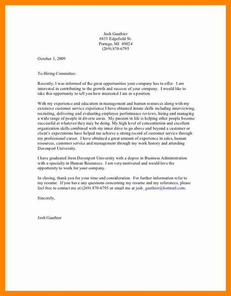 General Email Cover Letter 7 general cover letters resume sections