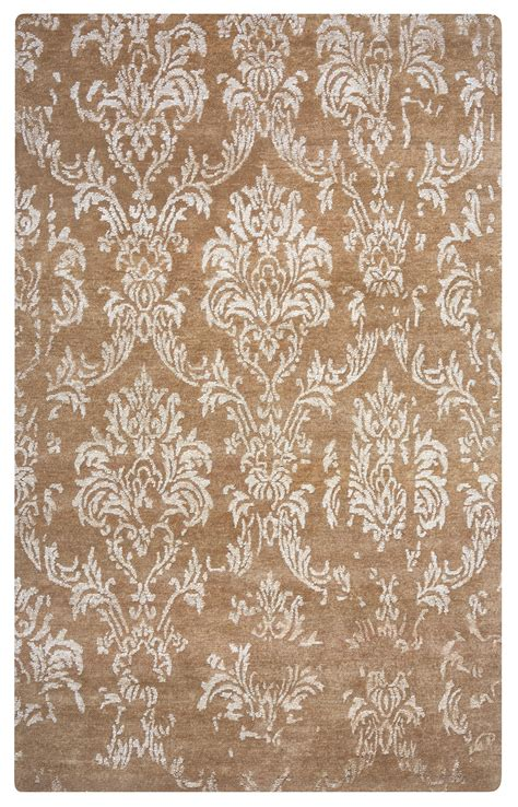 6 x 8 area rugs avant garde damask wool area rug in camel chagne silver 5 6 quot x 8 6 quot