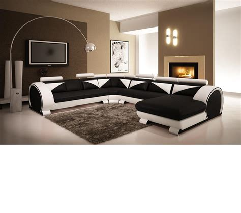 modern black and white leather sectional sofa dreamfurniture com modern black and white leather