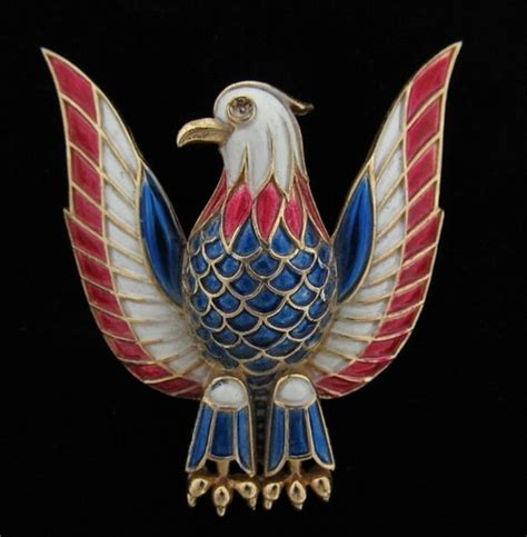 white eagle tattoo luton vintage trifari enamel red white blue eagle brooch pin