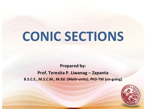 conic sections ellipse ppt lesson 8 conic sections parabola
