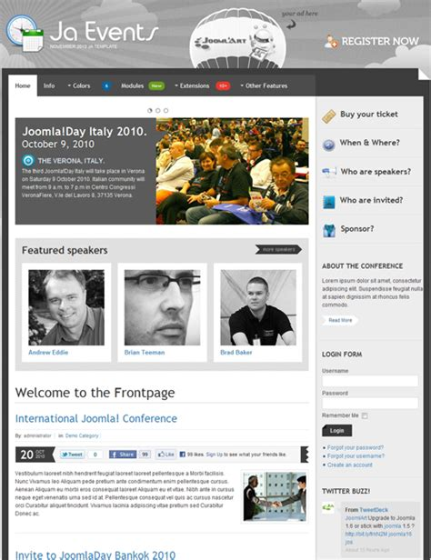 ja events template for joomla events joomla templates