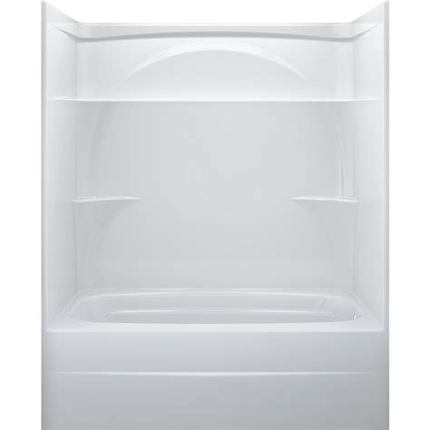one piece acrylic bathtub shower shop delta white acrylic one piece bathtub common 32 in