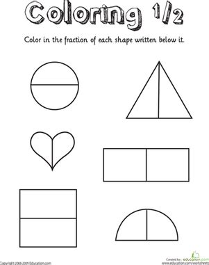printable half and quarter worksheets coloring shapes the fraction 1 2 printable maths