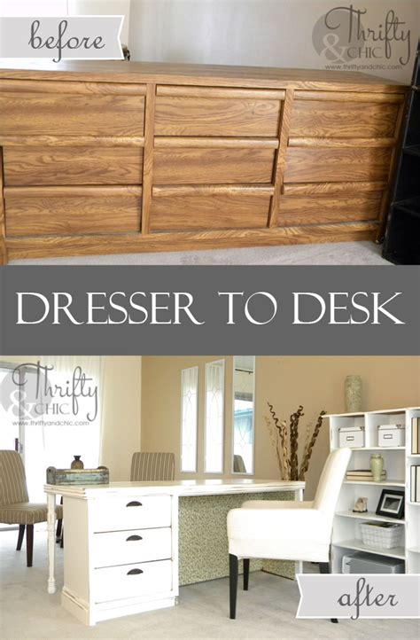 turn desk into vanity 13 awesome diy repurposed dresser project ideas