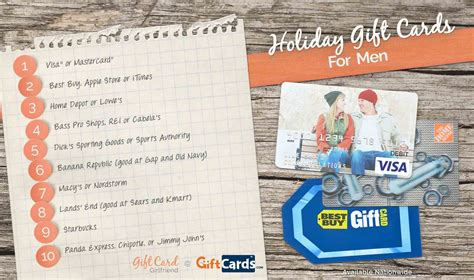 Gift Cards For Men - the top 5 holiday gift cards for men gift card girlfriend