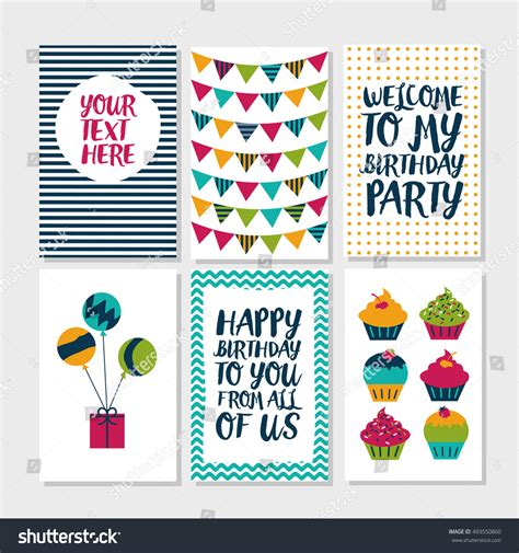owl birthday card template set 6 owl creative cards stock vector 493550860