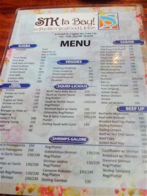 menu picture of stk ta bai at paolito s seafood house