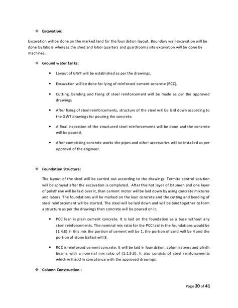 layout of a report english construction esstablishment of cattle farm project report