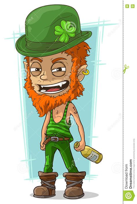 cartoon evil drunk leprechaun with bottle stock vector