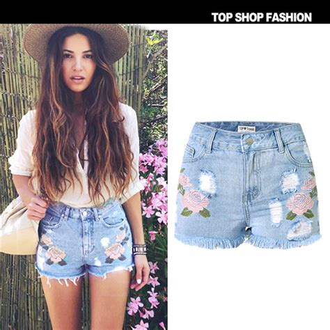 Embroidery Denim Shorts 2016 fashion embroidery denim shorts floral high waist