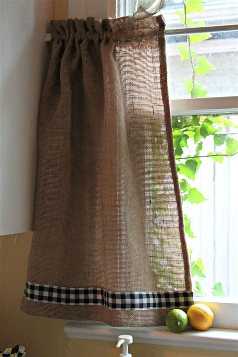 Burlap Kitchen Curtains Burlap And Gingham Curtains Window Appeal