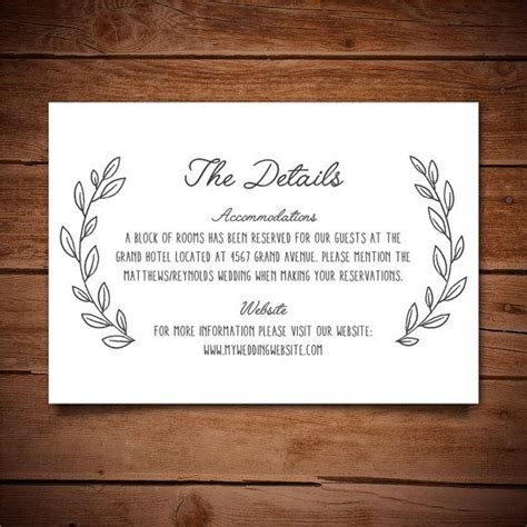 Wedding Information Card Template by 14 Best Details Card Information Card Templates Images