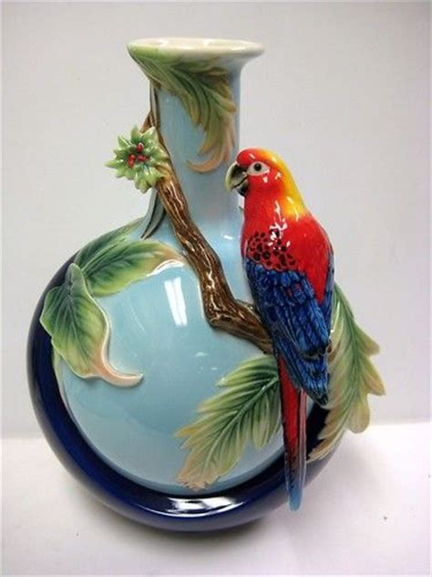 Parrot Vase by Vase Blue And Parrots On