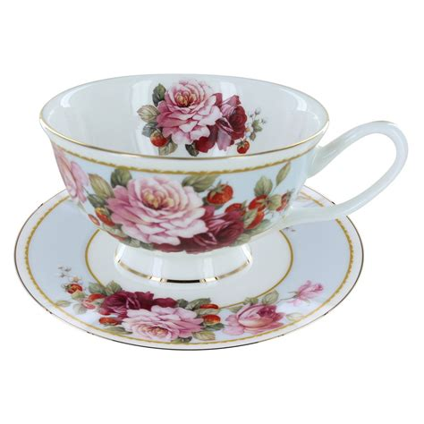 Tea Cup by Peony And Strawberry Blue Bone China Teacup And Saucer