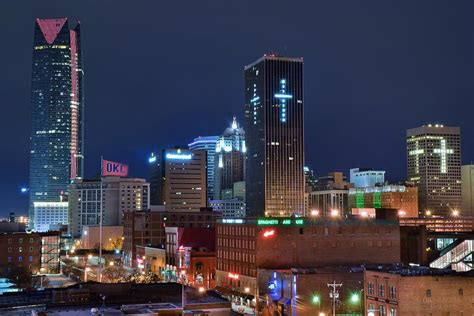 Home Decor Okc by Okc Nightlife Photograph By Frozen In Time Fine Art