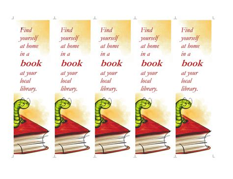 library bookmarks 5 per page office templates