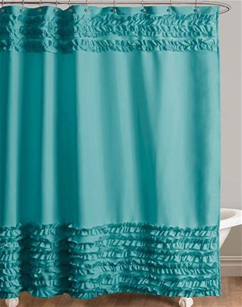 teal ruffle shower curtain skye turquoise fabric shower curtain features brushed