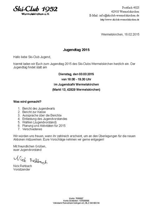 Muster Einladung Zur Jahreshauptversammlung Verein Ski Club 1952 Wermelskirchen E V