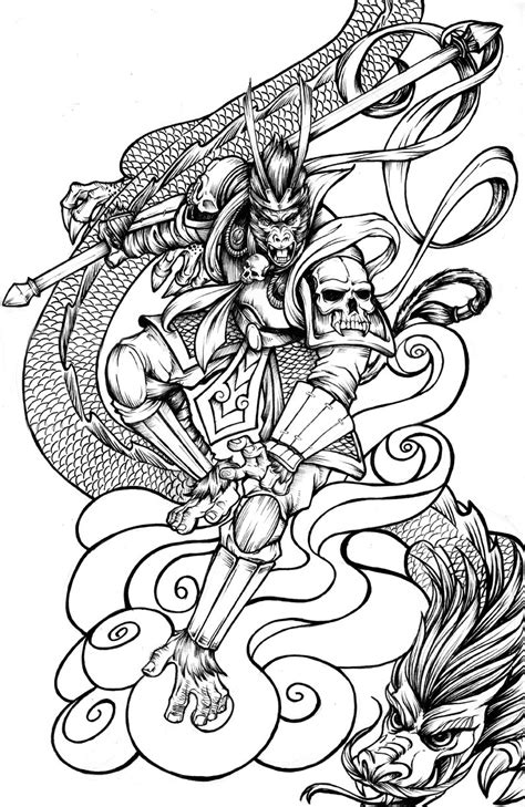 monkey king coloring pages monkey king by mrdevul on deviantart