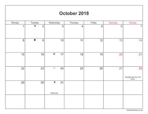 printable calendar landscape october 2017 october 2018 calendar with holidays uk calendar 2017