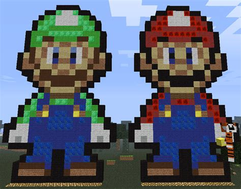 famous characters in pixel art mario and luigi tomlowmc com view topic pixel art requests