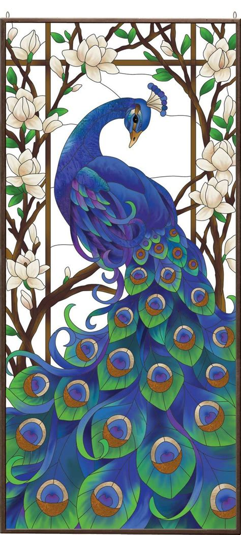 peacock stained glass l peacock stained glass art panel 231 ini panolar