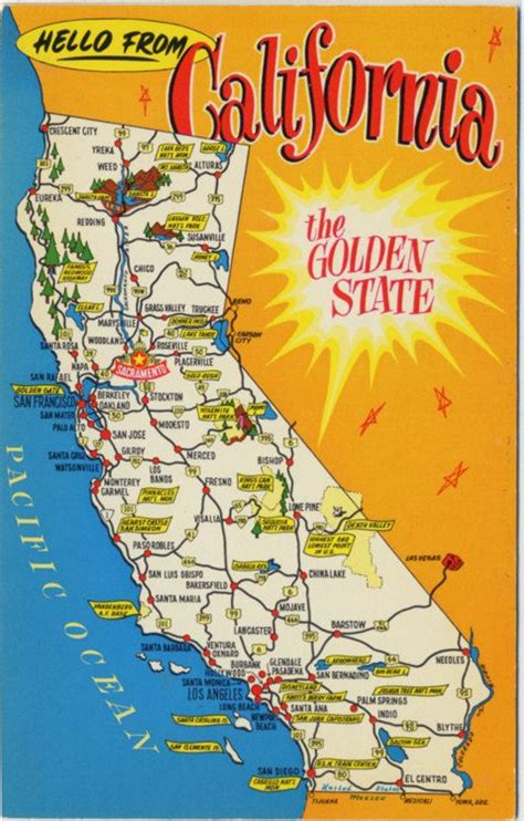 california map etsy california state map vintage chrome greetings postcard
