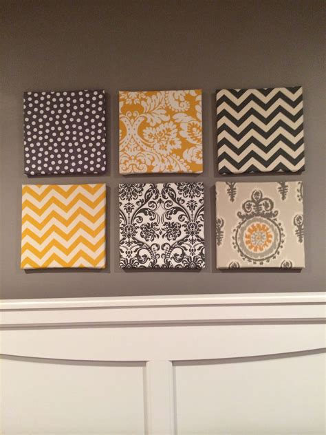 fabric  canvas wall art   gray  yellow