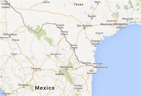 map of texas border with mexico border crossing usa mexico nuevo loredo to monterrey travel guide to gaia
