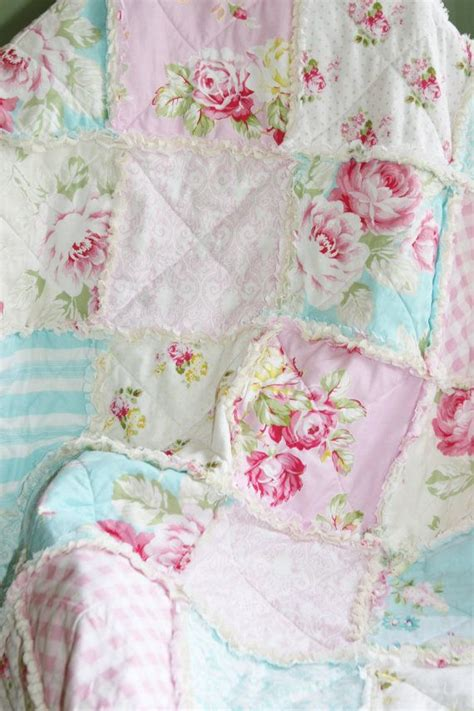 crib rag quilt baby girl crib bedding shabby chic nursery sunshine roses pink blue nursery