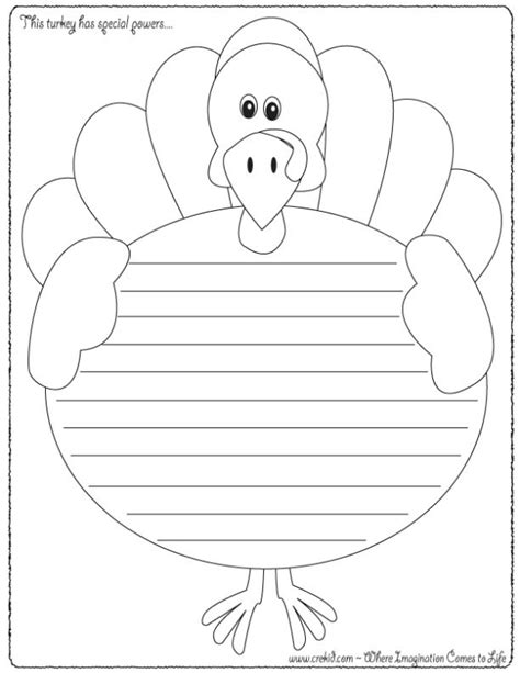 writing template for thanksgiving cards kindergarten this turkey has superpowers thanksgiving theme
