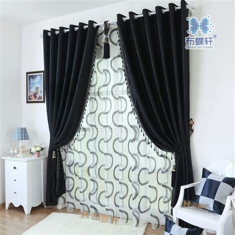 black blackout curtains bedroom modern style black silk embossed blackout curtains for
