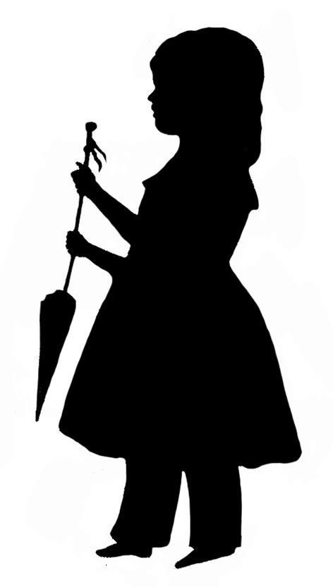 umbrella girl silhouette  getdrawingscom