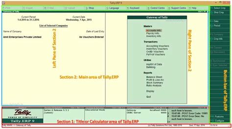 section tally top sections of tally erp accounting software