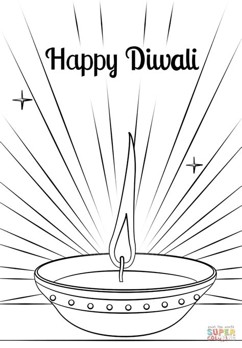 Diwali Card Templates To Colour by Diwali Diya Coloring Page Free Printable Coloring Pages