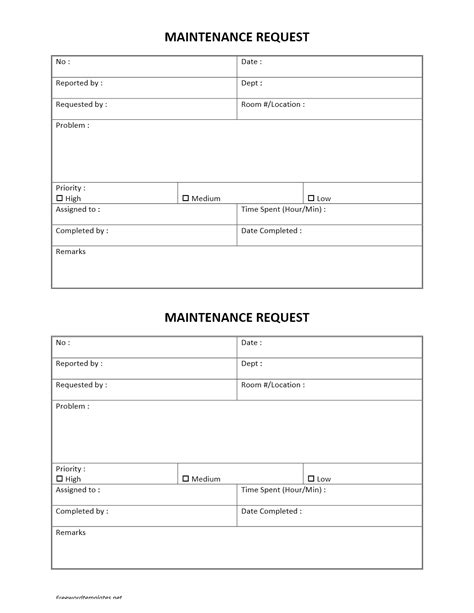 maintenance request card template word checklist free hotel maintenance request form