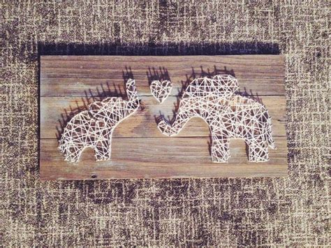 Elephant String - string and nail for a nursery momma and baby elephant