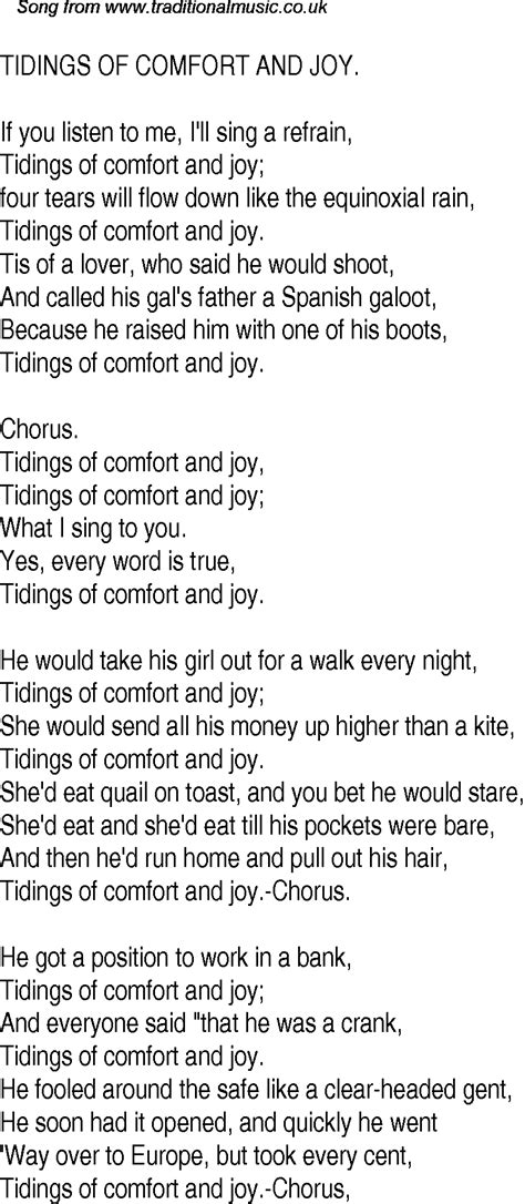 Tidings Of Comfort And Song by Time Song Lyrics For 17 Tidings Of Comfort And
