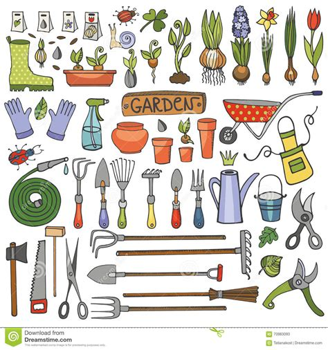 how to use doodle kit garden doodle set colored tools plants stock vector