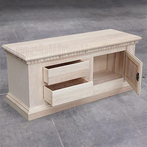 cassetti legno grezzo porta televisore con 1 anta e 2 cassetti grezzo