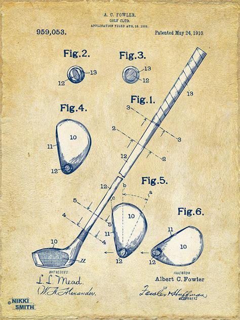 imagenes vintage golf vintage 1910 golf club patent artwork by nikki marie smith