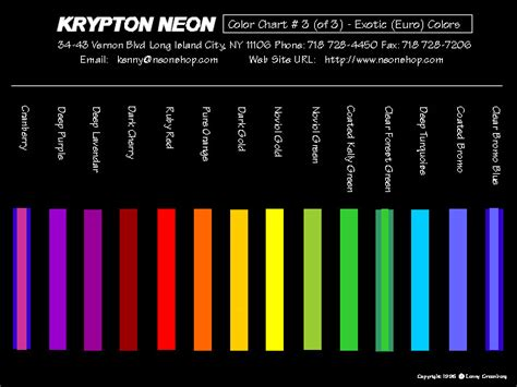 exotic color names neon color page