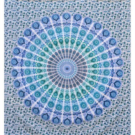 Light Blue Tapestry by Mandala Indian Hippy Wall Hanging Tapestry