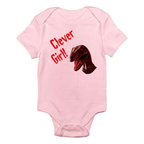 Clever girl pink one piece jurassic park inspired geek baby clothes