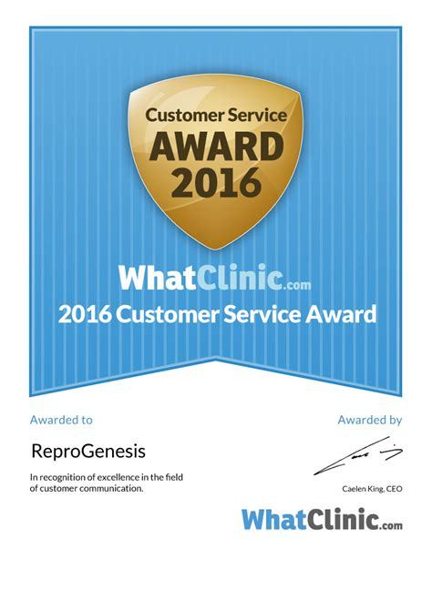Iso Certificates And Clinic Certificates Reprogenesis Customer Service Award Template